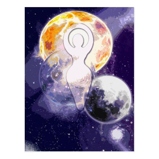 Sun Earth and Moon Goddess Postcard