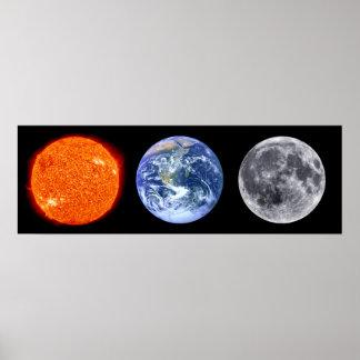 Sun, Earth, & Moon Poster