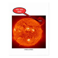 Sun Earth You Are Here (Astronomy Humor) Postcard