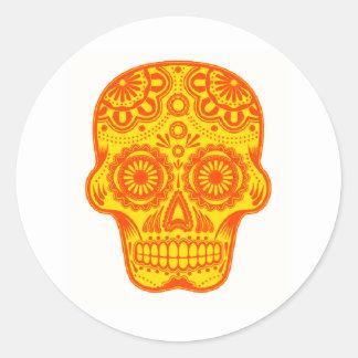 Sun el cráneo pegatina redonda