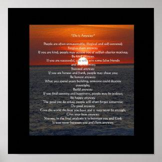 """Sun en el océano en negro """"lo hace de todos modos póster"""