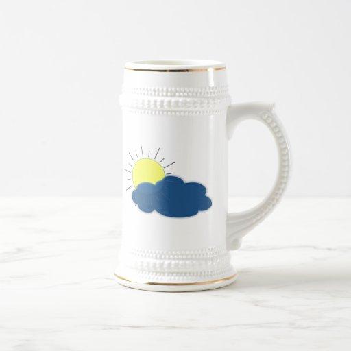 Sun en las nubes tazas de café