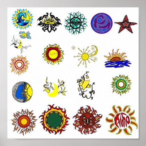 Sun, estrellas, poster de la luna