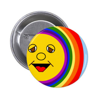 Sun Face and Rainbow 2 Inch Round Button