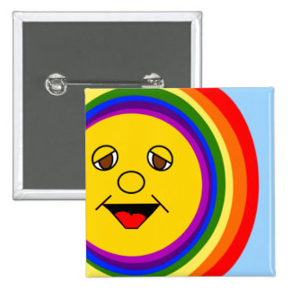 Sun Face and Rainbow 2 Inch Square Button
