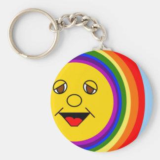 Sun Face and Rainbow Keychain