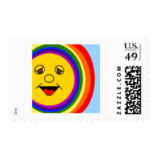 Sun Face and Rainbow Stamp