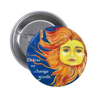 Sun Face Art Blue Yellow Orange Button Customize