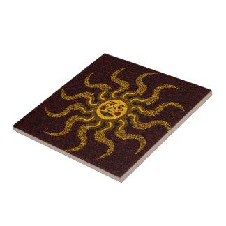 Sun Face Ceramic Tile
