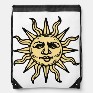 Sun Face Drawstring Backpack