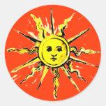 sun face - lost book of nostradamus classic round sticker