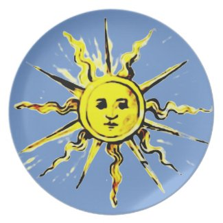 sun face - lost book of nostradamus party plate