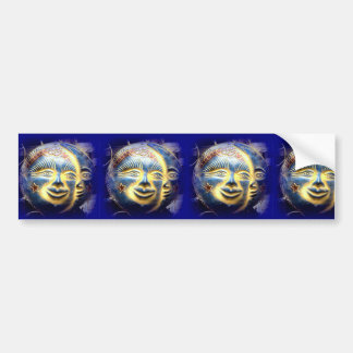 sun face/ moon face bumper sticker