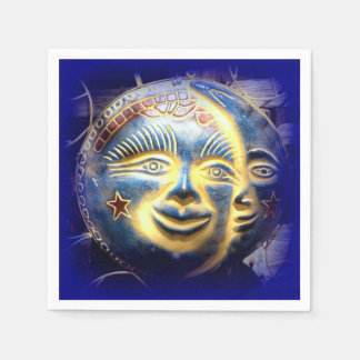sun face moon face paper napkins