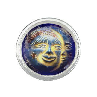 sun face/ moon face round ring