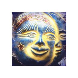 sun face/ moon face wrapped canvas