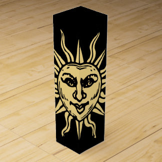 Sun Face on Black Wine Gift Box