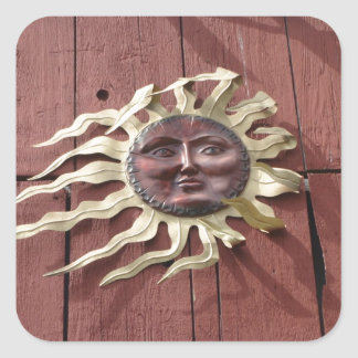 Sun Face on Red Barn Square Sticker