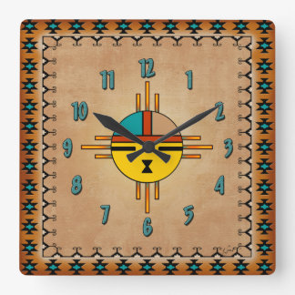 Sun Face Square Wall Clock