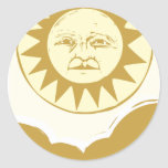 Sun Face with Clouds Classic Round Sticker