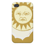 Sun Face with Clouds iPhone 4 Covers