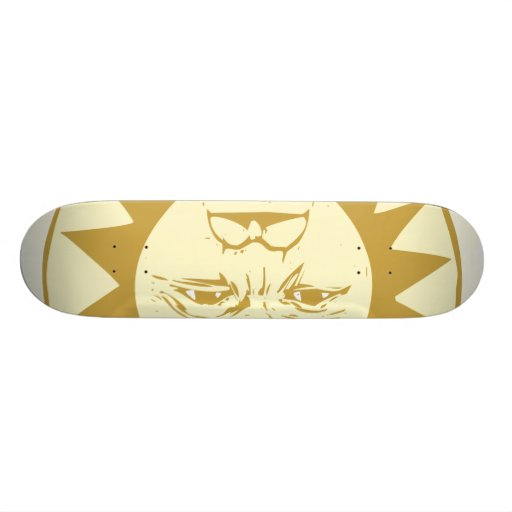 Sun Face with Clouds Skate Board