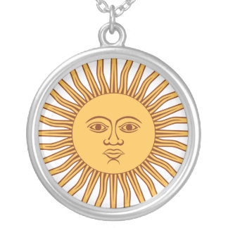 Sun Face with Rays on White Round Pendant Necklace