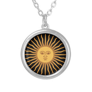 Sun Face with Rays Sol de Mayo Black and Gold Round Pendant Necklace