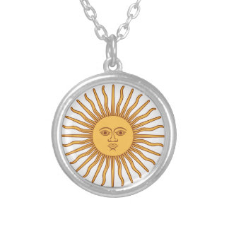 Sun Face with Rays Sol de Mayo Gold on White Round Pendant Necklace