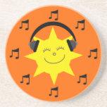 Sun feliz, auriculares y notas musicales anaranjad posavasos manualidades