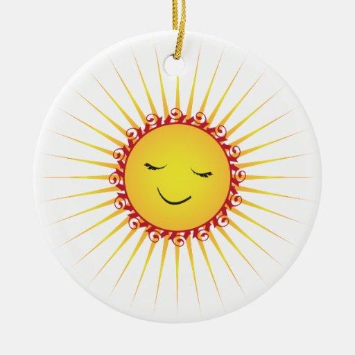 Sun feliz - diversión adorno navideño redondo de cerámica