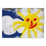 Sun feliz hace frente a sonrisa tarjeton