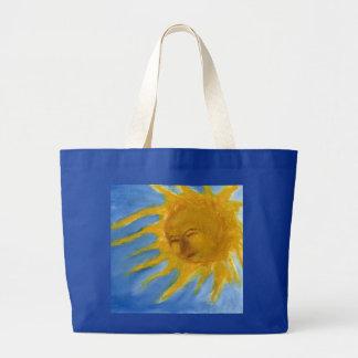 Sun feliz hace frente al solenoide amarillo y azul bolsa de mano