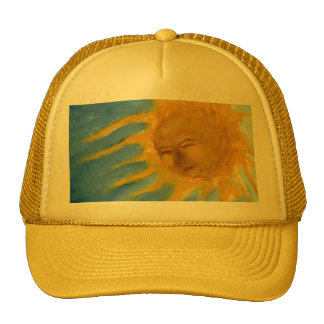 Sun feliz hace frente al solenoide amarillo y azul gorro