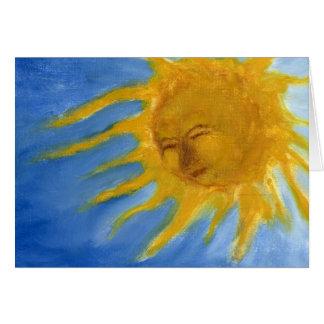 Sun feliz hace frente al solenoide amarillo y azul tarjeta de felicitación