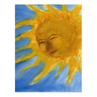 Sun feliz hace frente al solenoide amarillo y postal