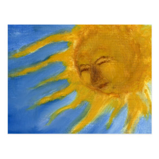 Sun feliz hace frente al solenoide amarillo y postales