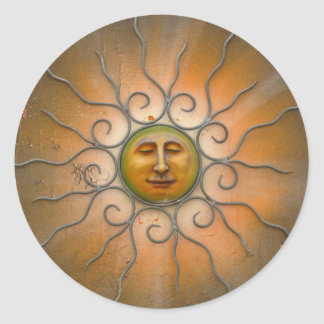 Sun feliz hace frente pegatina redonda