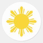Sun filipino, Pinoy Sun, filipino Sun Etiqueta Redonda