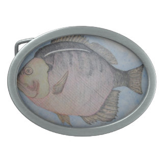 Sun Fish Oval Belt Buckle