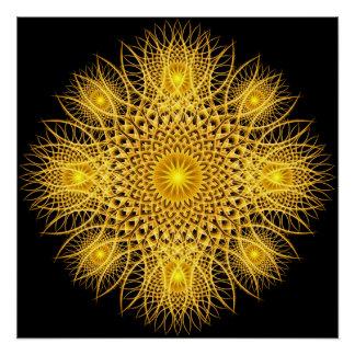 Sun Flake Mandala Poster
