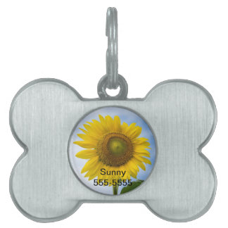 Sun Flower Against Blue Sky Pet Name Tag