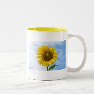 Sun Flower Against Blue Sky Two-Tone Coffee Mug