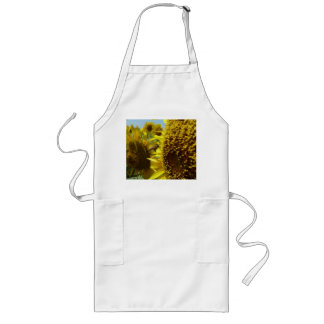 Sun flower and bee , ひまわりと蜜蜂 long apron
