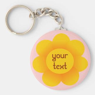 sun flower basic round button keychain