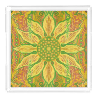 Sun Flower bohemian floral art yellow green orange Acrylic Tray
