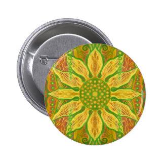 Sun Flower bohemian floral art yellow green orange Button