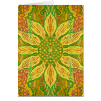 Sun Flower bohemian floral art yellow green orange Card