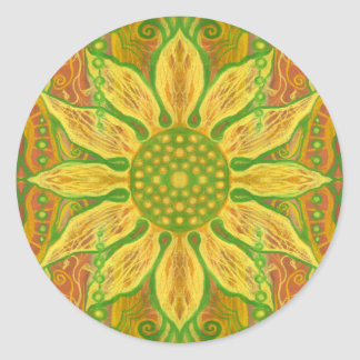 Sun Flower bohemian floral art yellow green orange Classic Round Sticker