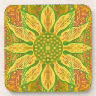 Sun Flower bohemian floral art yellow green orange Coaster